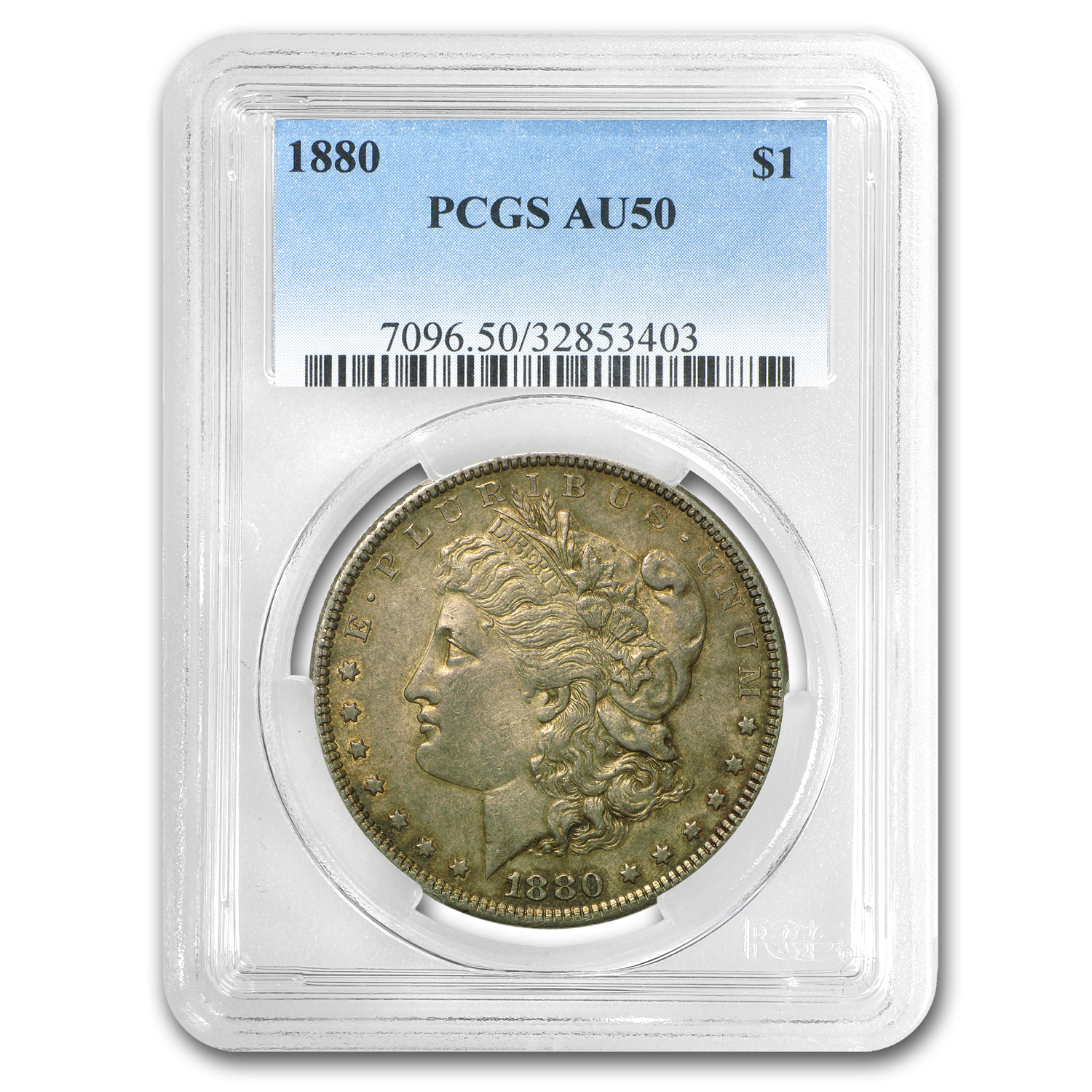 1880 Morgan Dollar AU-50 PCGS (VAM-6, 8 over 7 Spikes)