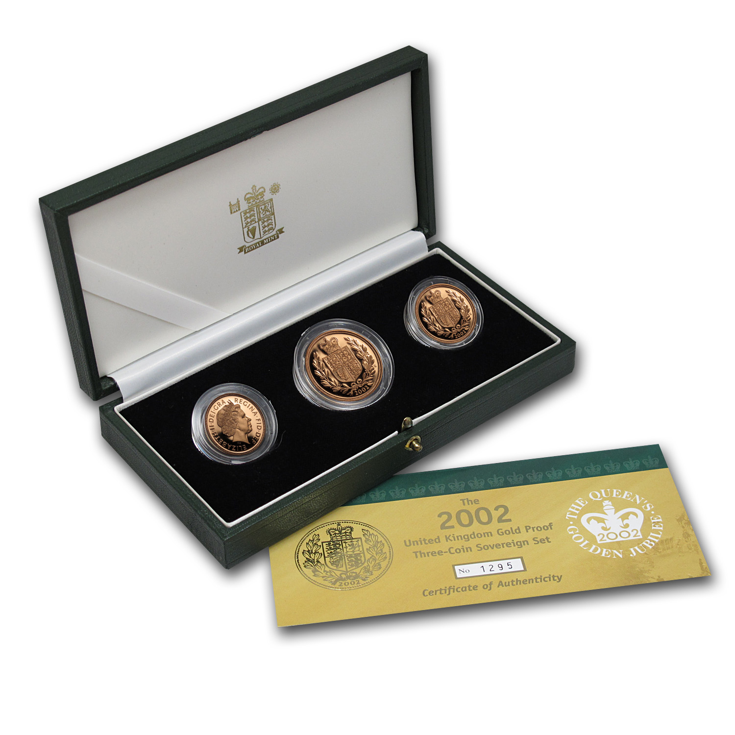 Great Britain 2002 3 Coin Gold Sovereign Proof Set
