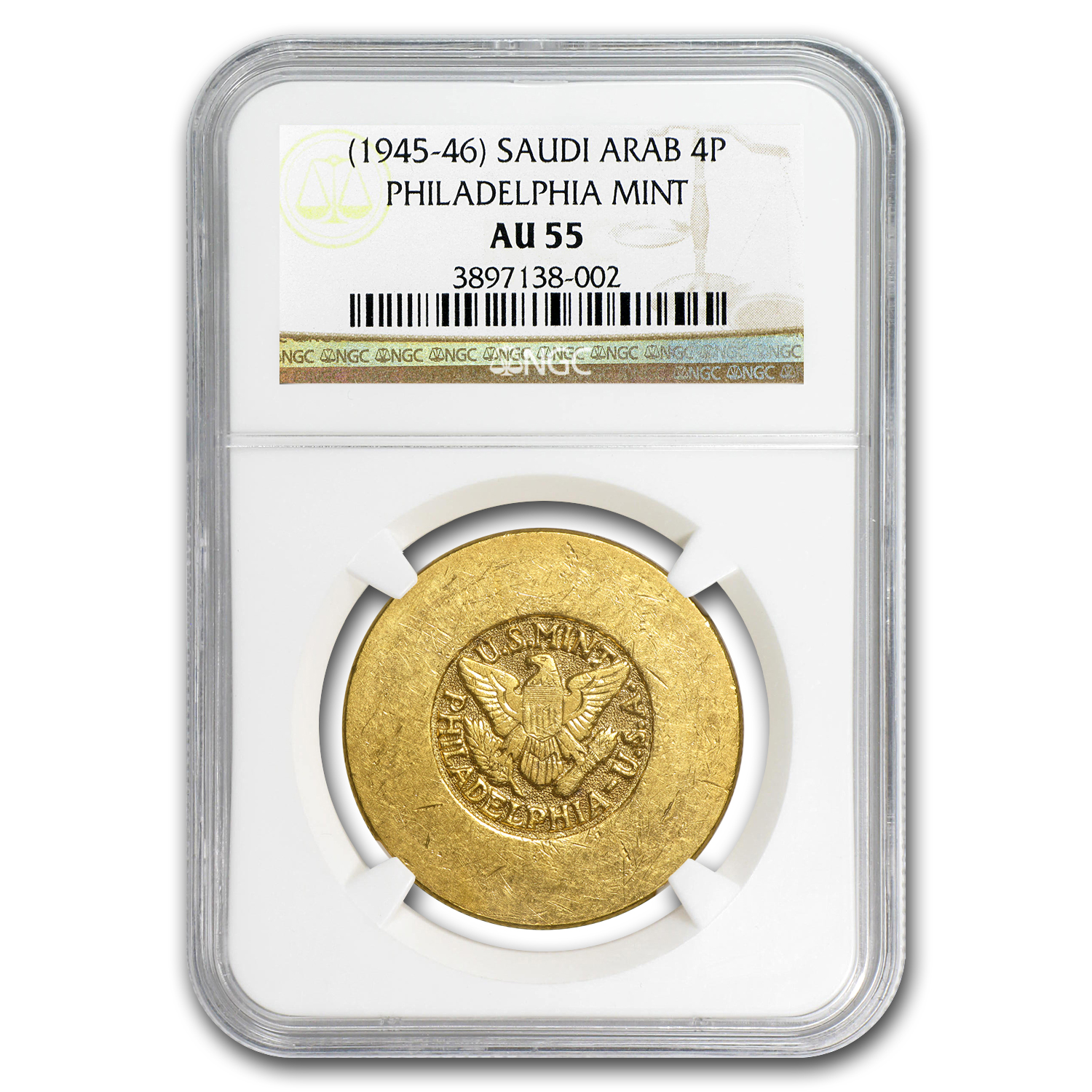 1945-46 Saudi Arabia Gold 4 Pounds ARAMCO US Mint AU-55 NGC