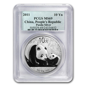 2011 China 1 oz Silver Panda MS-69 PCGS