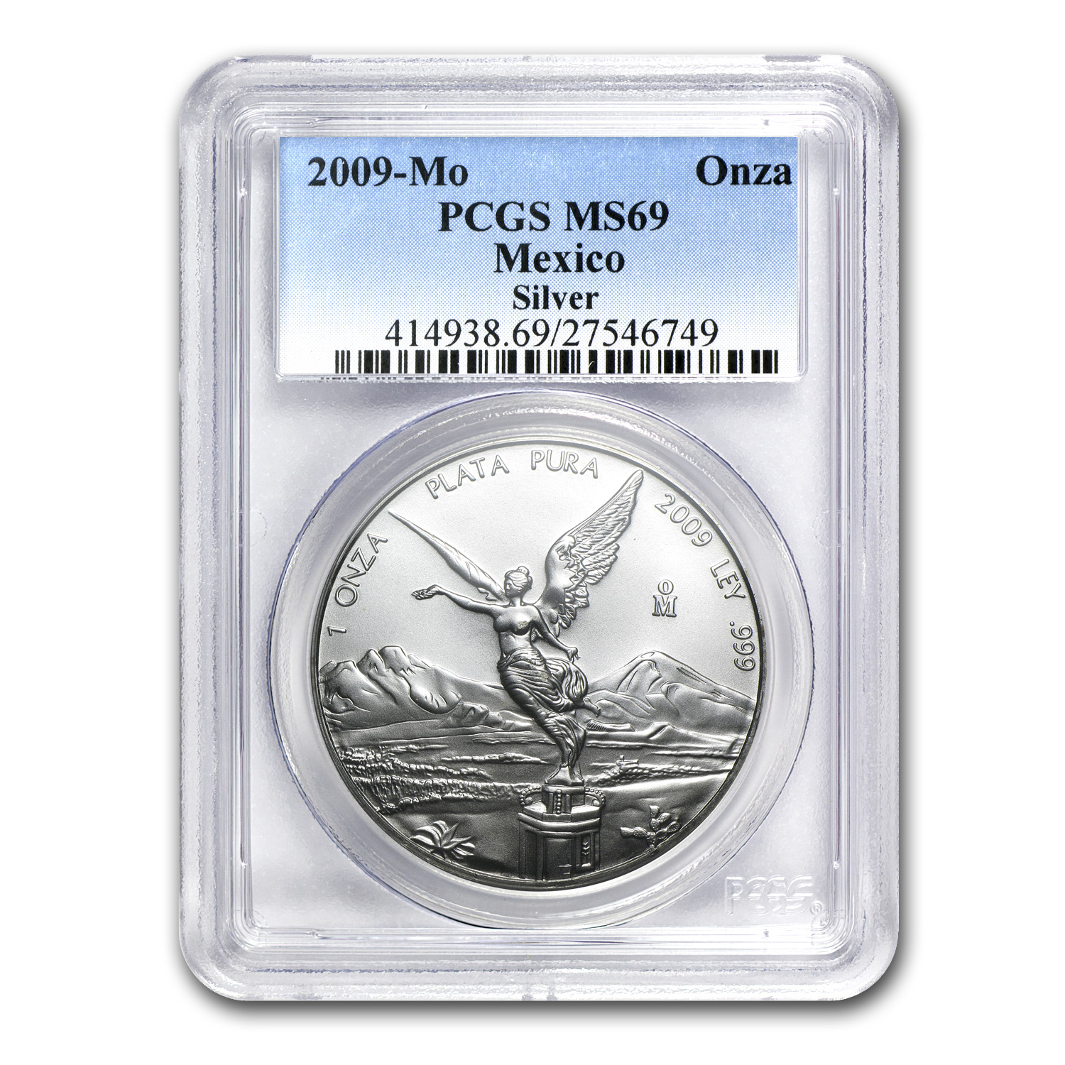 2009 1 oz Silver Mexican Libertad MS-69 PCGS