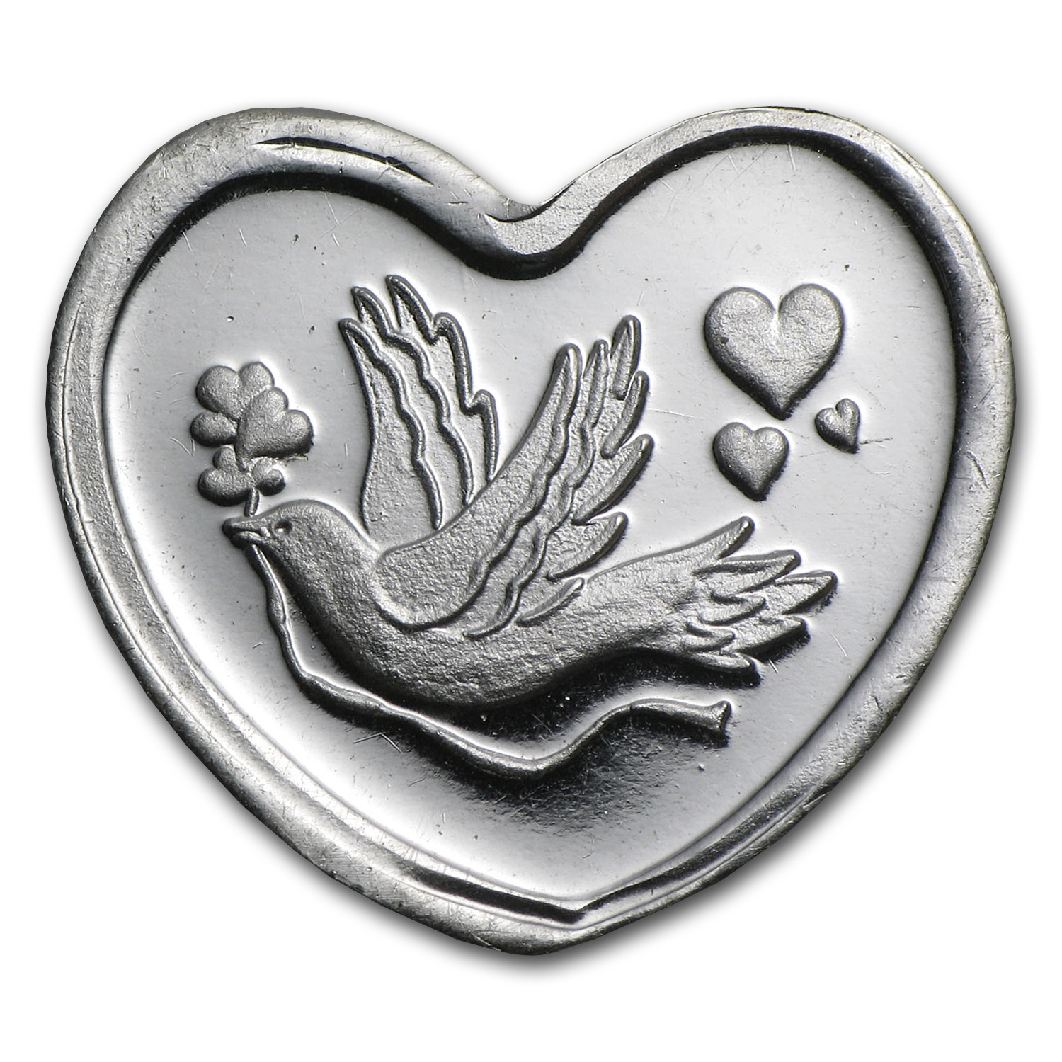 1/10 oz Silver Heart - Dove and Heart
