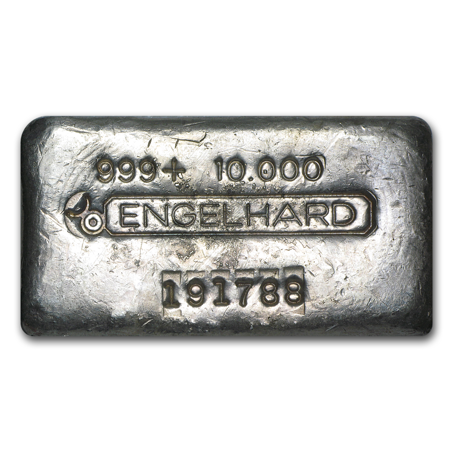 10 oz Silver Bar - Engelhard (Wide/Poured/Bull Logo)