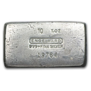 10 oz Silver Bars - Engelhard (Wide/Poured/1st Generation)