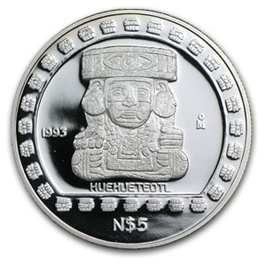 1993 Mexico 1 oz Silver 5 Pesos Huehueteotl Proof
