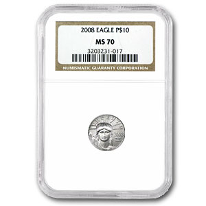 2008 1/10 oz Platinum American Eagle MS-70 NGC