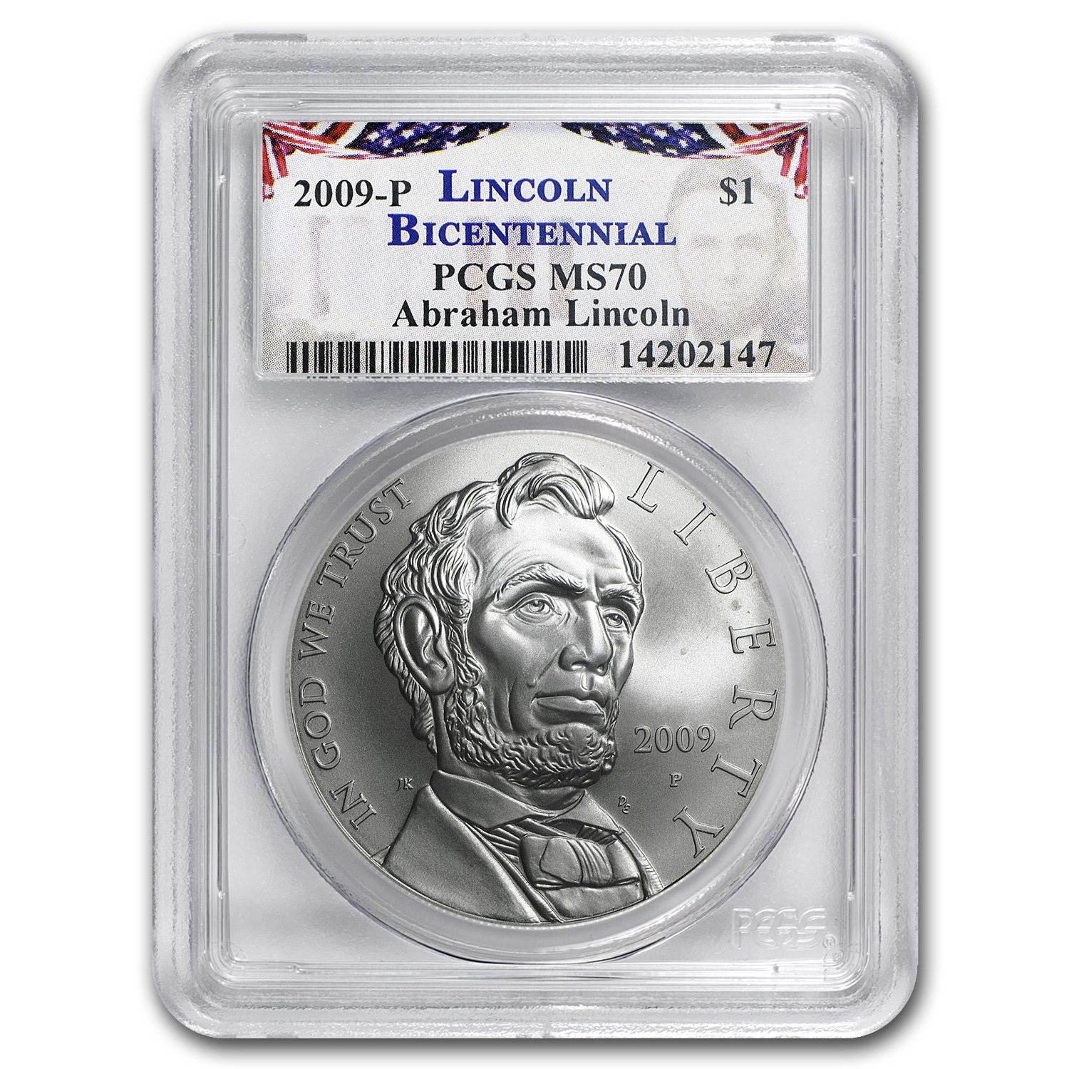 2009-P Abraham Lincoln $1 Silver Commem MS-70 PCGS