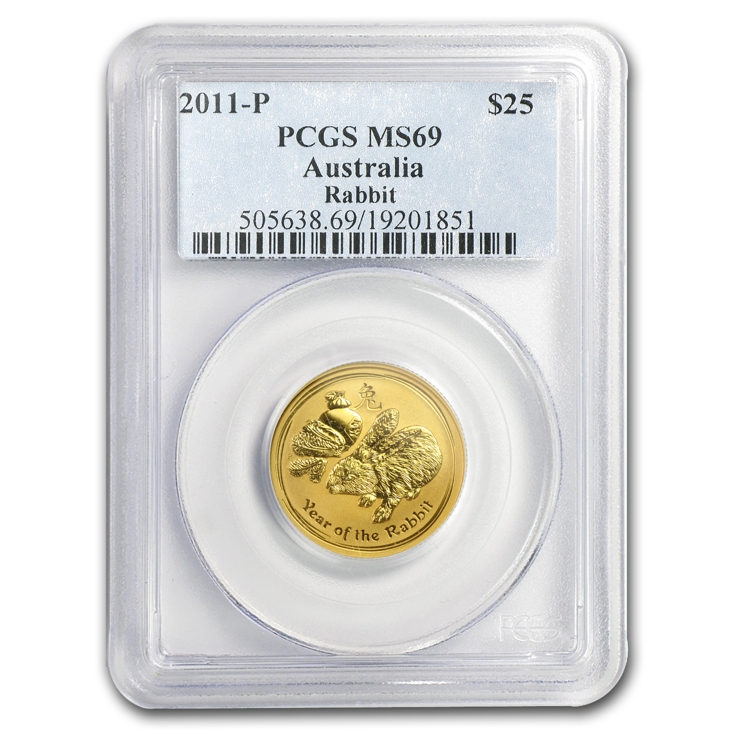 2011 1/4 oz Gold Lunar Year of the Rabbit MS-69 PCGS (Series II)