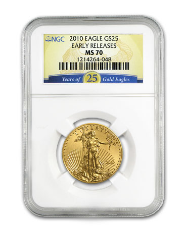2010 1/2 oz Gold American Eagle MS-70 NGC (ER, 25 Years of Gold)