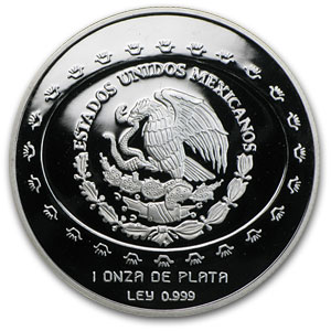 1997 1 oz Silver Mexican 5 Pesos Mascara Proof