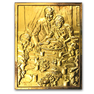 2.08 oz Silver Bar - Norman Rockwell (Gold Plated)