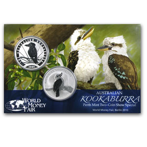 2009 & 2010 2-Coin 1 oz Kookaburra World Money Fair Set BU