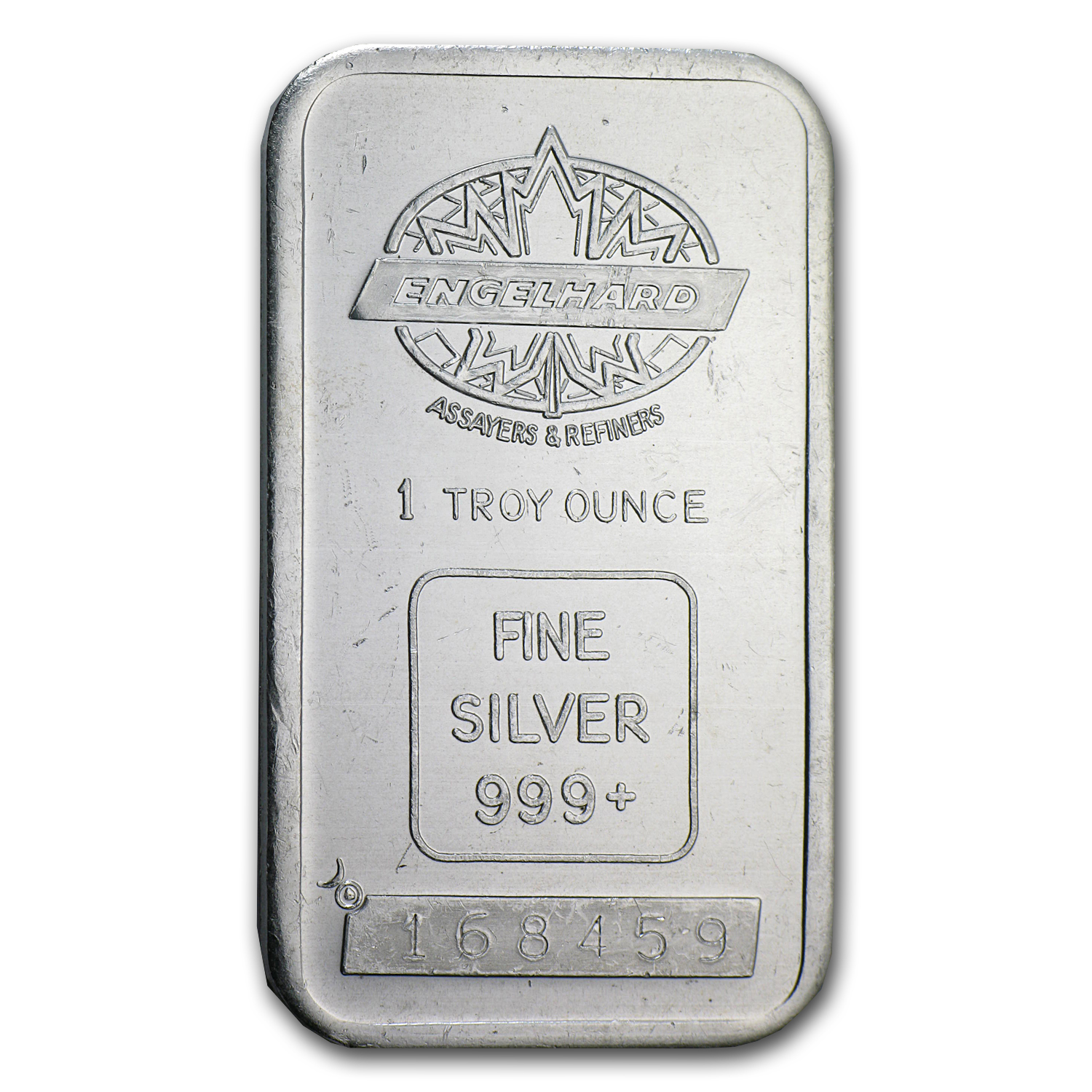 1 oz Silver Bar - Engelhard (Tall, Maple Design, Smooth, Border)