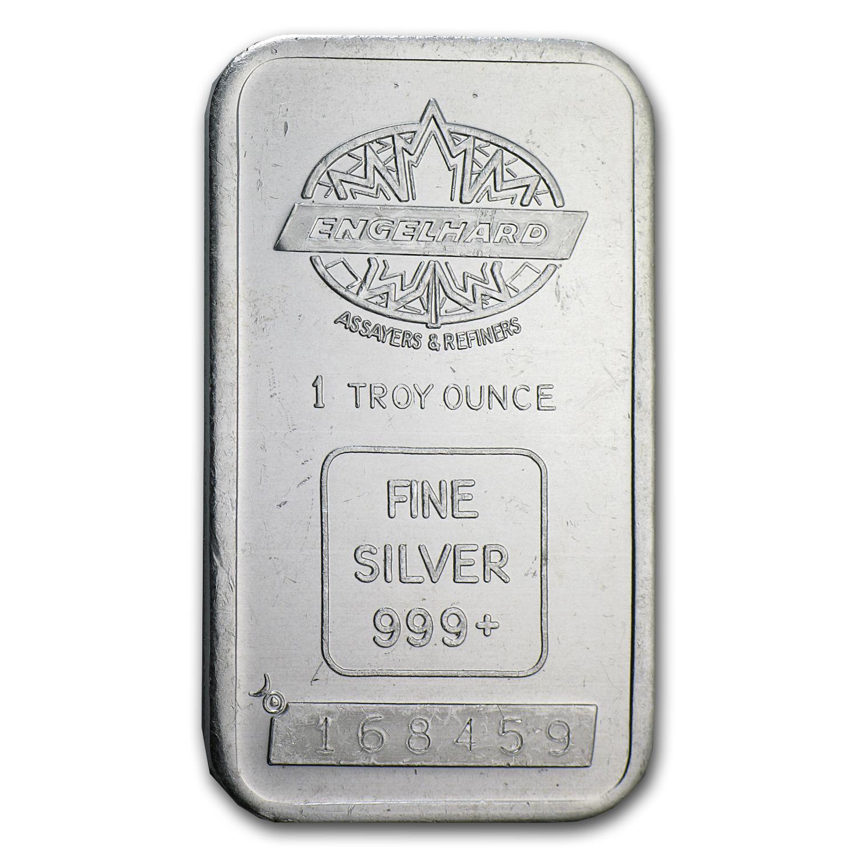 1 Oz Silver Bar Engelhard Tall Eagle Design