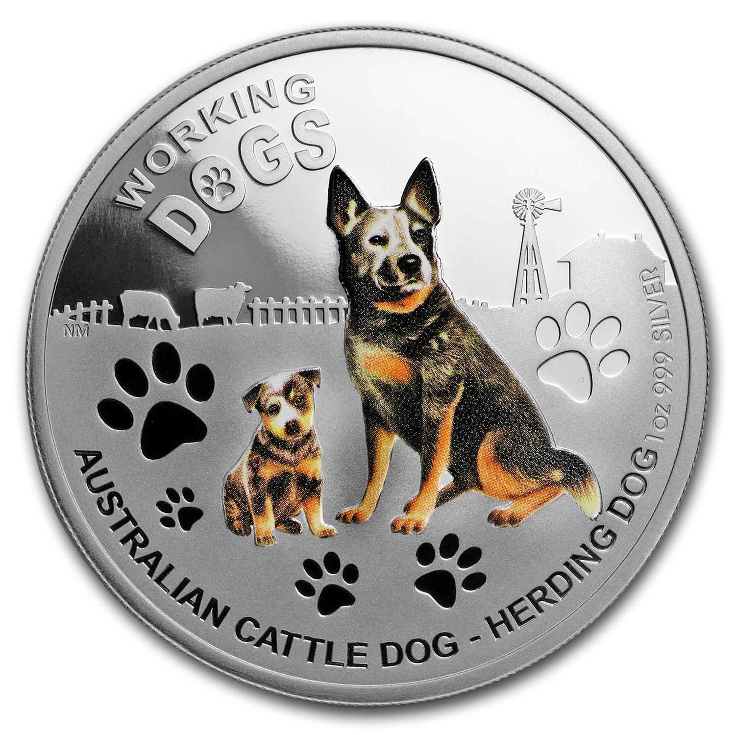 2011 1 oz Proof Silver Australian Cattle Dog - Working Dog
