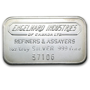 1 oz Engelhard Industries Silver Bar (Wide, Canada, Smooth)