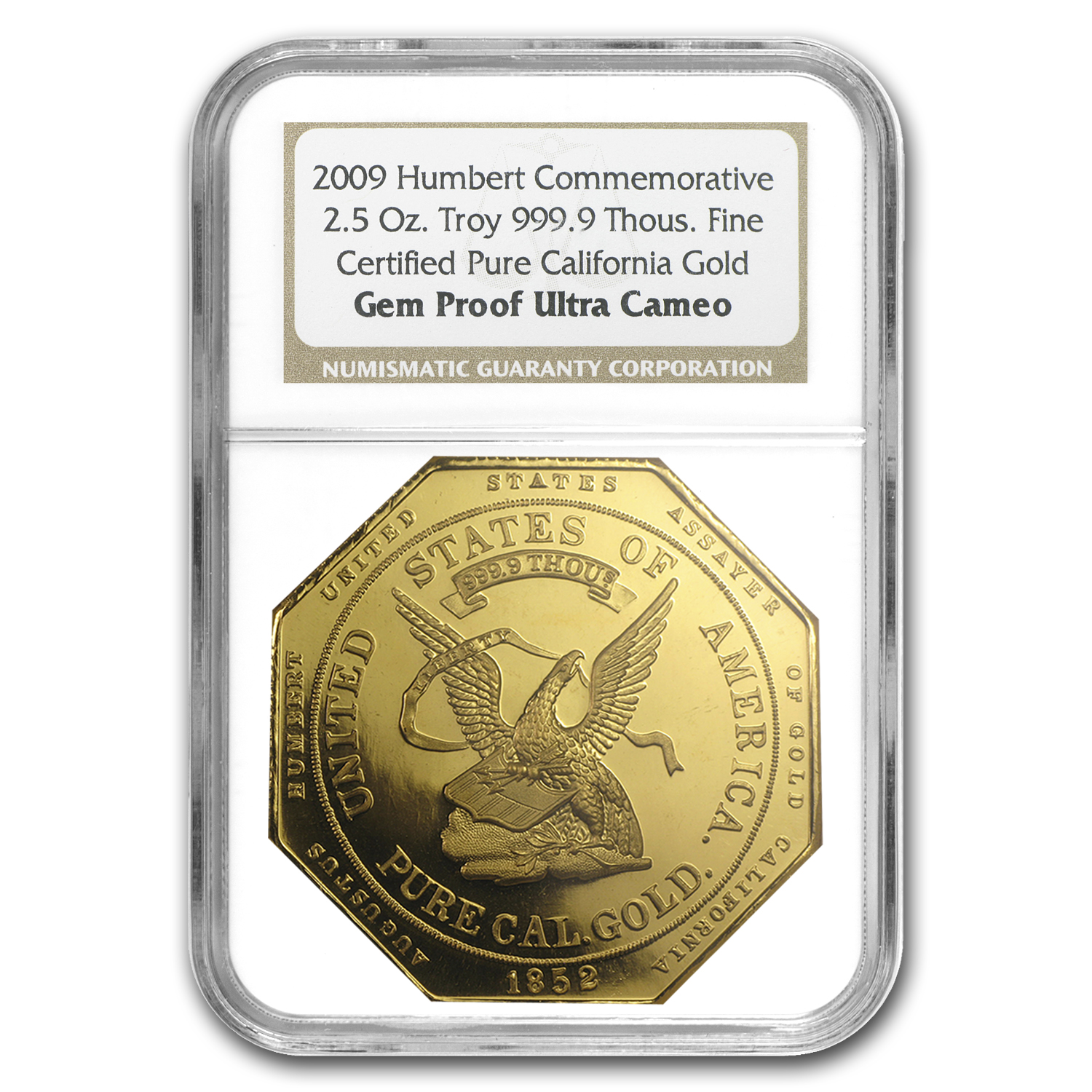 2.5 oz Gold Round - $50 Gold Humbert Gem Proof NGC