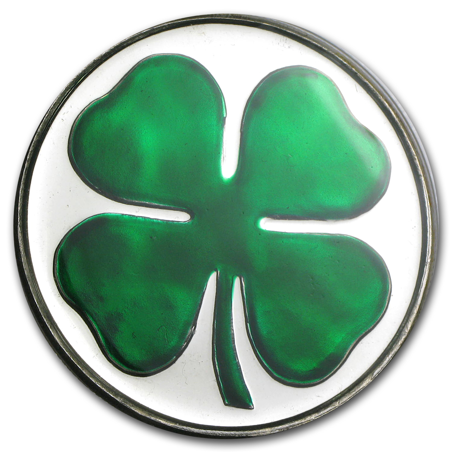 1 oz Silver Round - Four Leaf Clover (Enameled, w/Box & Capsule)