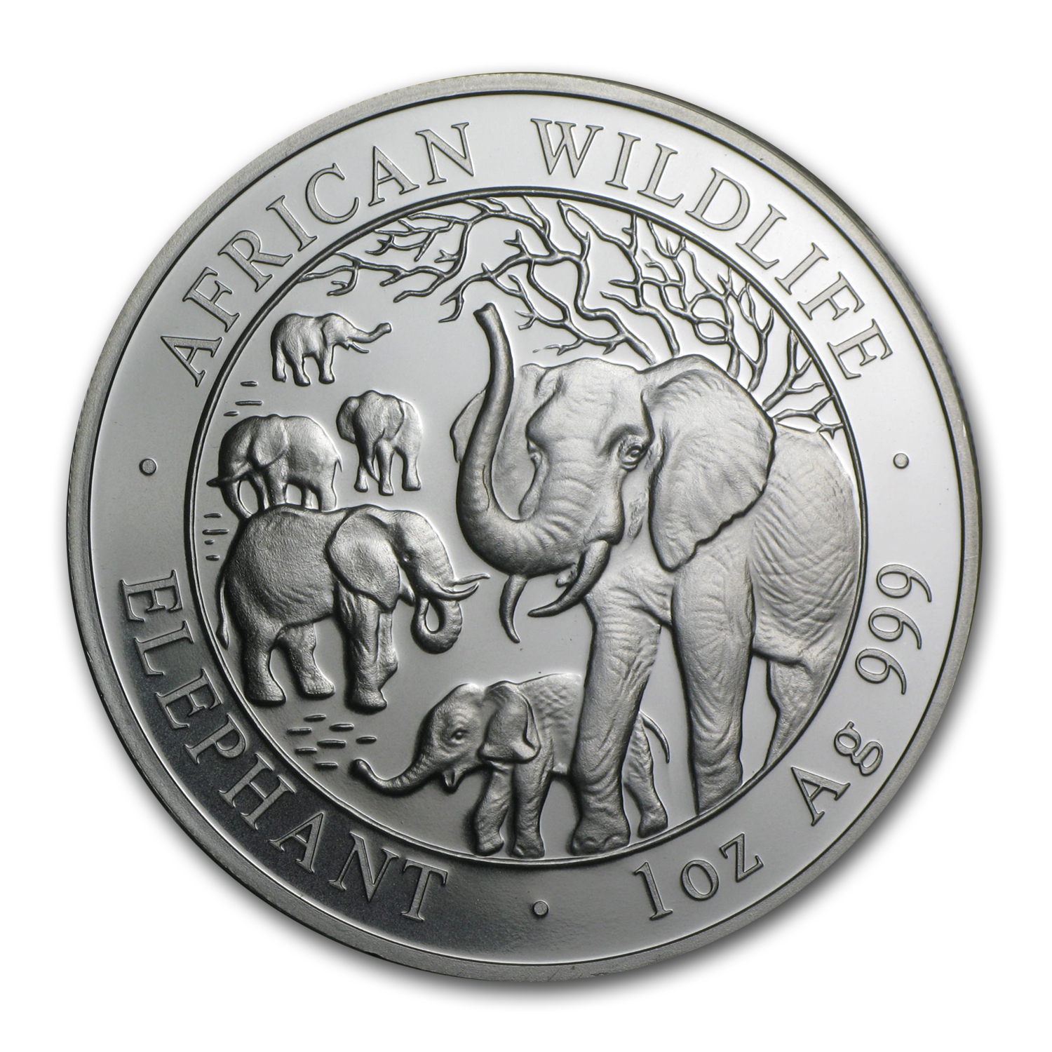 2008 1 oz Silver Somalian Elephant - Brilliant Uncirculated