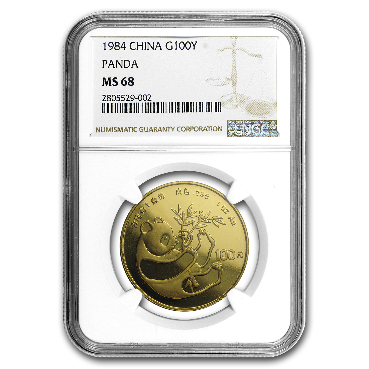 1984 China 1 oz Gold Panda MS-68 NGC