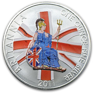2011 Great Britain 1 oz Silver Britannia BU (Colorized)