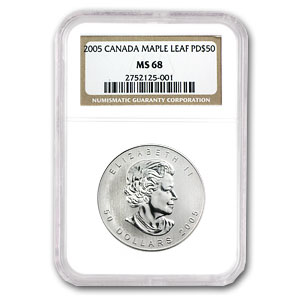 2005 1 oz Palladium Canadian Maple Leaf MS-68 NGC