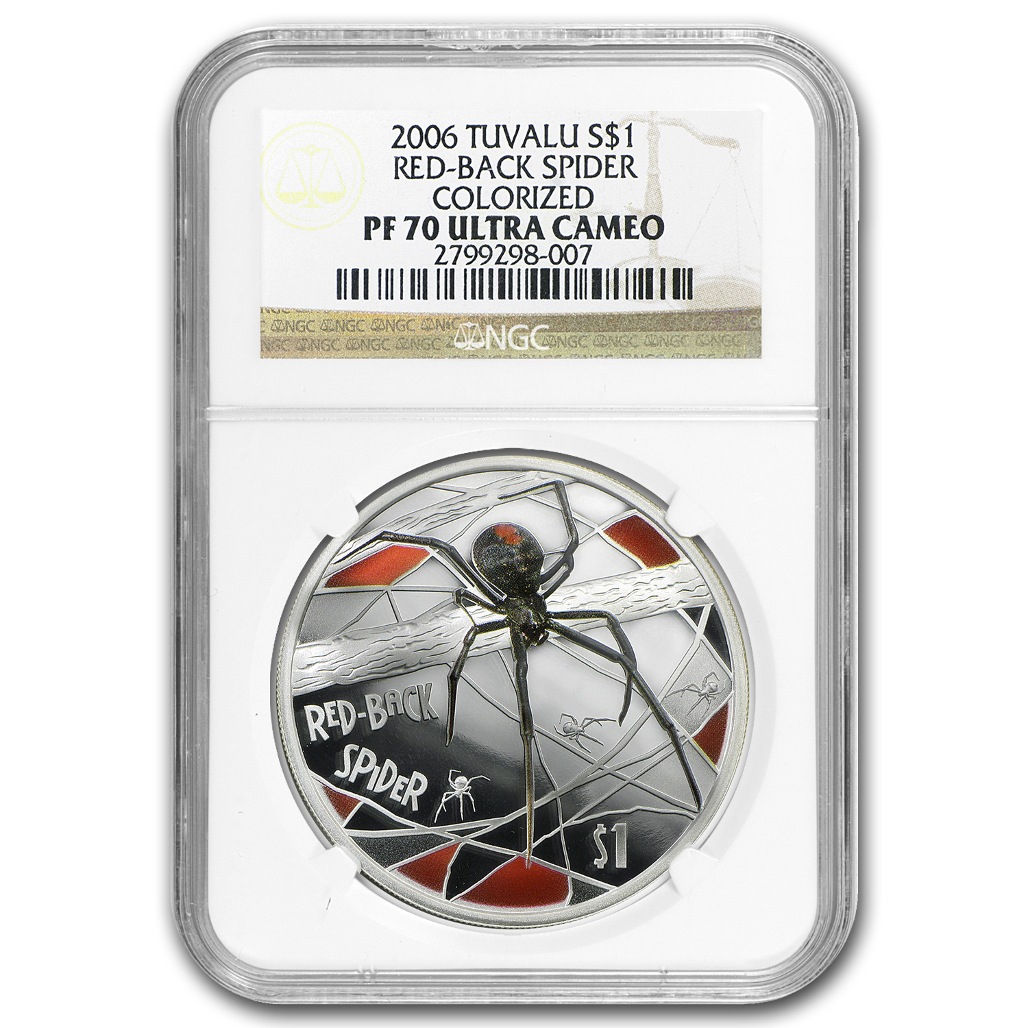 2006 Tuvalu 1 oz Silver Red-Back Spider PF-70 NGC