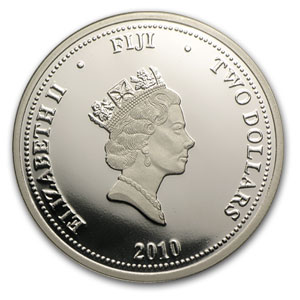 2010 Fiji 1 oz Silver $2 Taku Proof (Gilded, In Water Box)