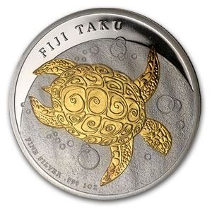 2010 1 oz Silver Fiji $2 Taku Proof (Gilded, In Water Box)