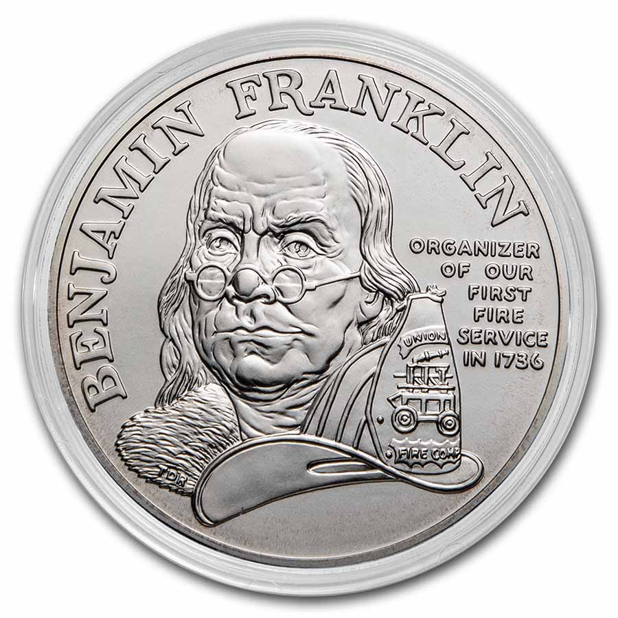 1992 Ben Franklin Firefighters Silver Medal 1oz Bu Coin