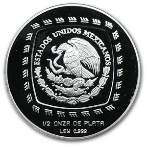 1996 1/2 oz Silver Mexican 2 Pesos Las Limas Proof