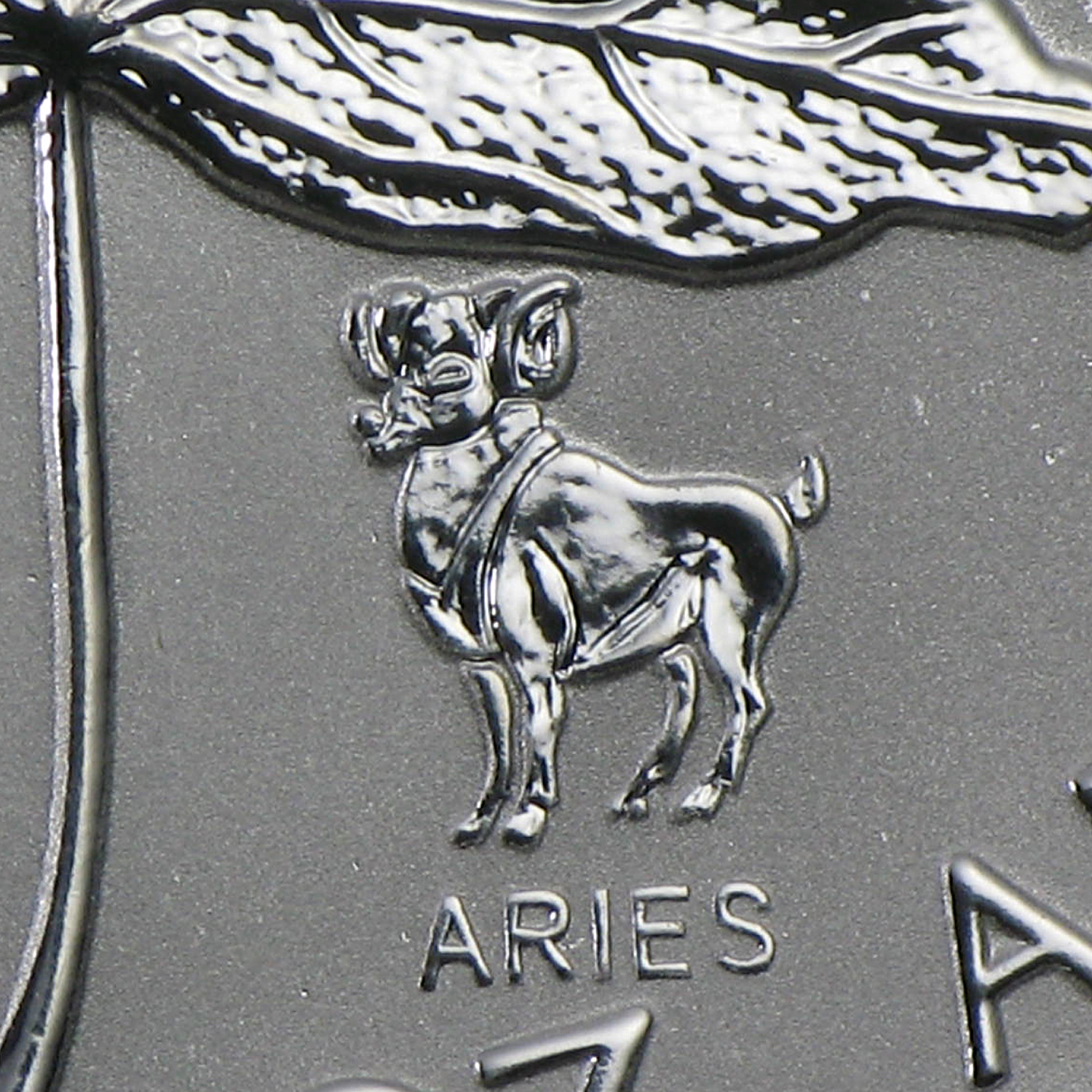 2004 1 oz Silver Canadian Maple Leaf - Aries Zodiac Privy