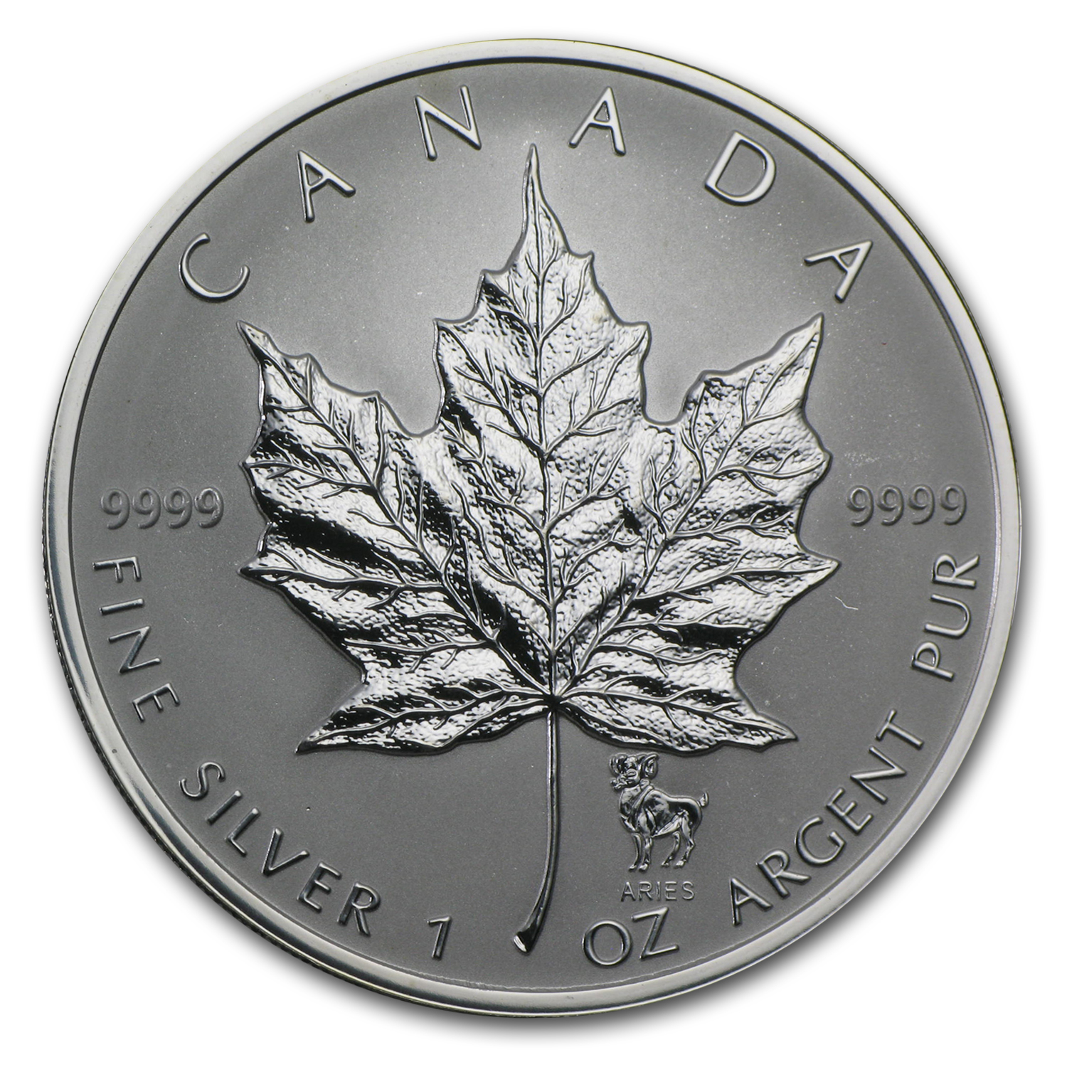 2004 Canada 1 oz Silver Maple Leaf Aries Zodiac Privy