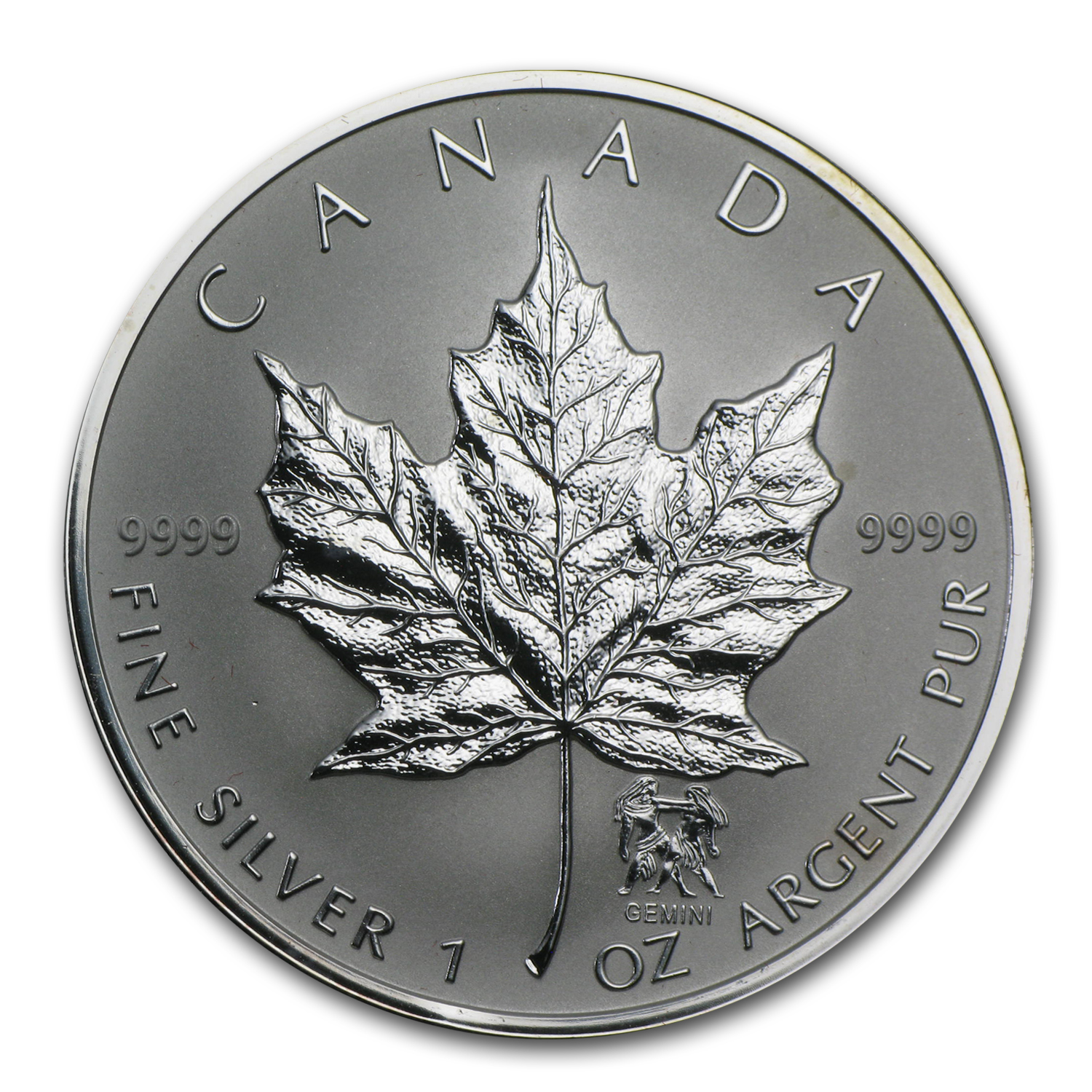 2004 1 oz Silver Canadian Maple Leaf - Gemini Zodiac Privy