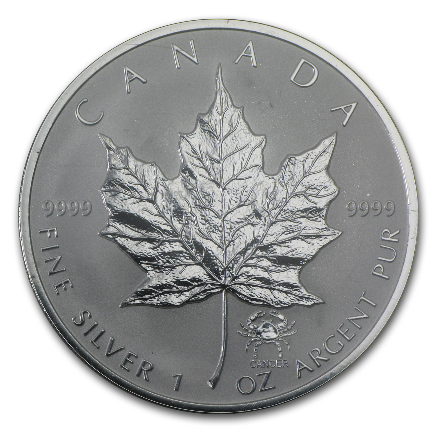 2004 Canada 1 oz Silver Maple Leaf Cancer Zodiac Privy