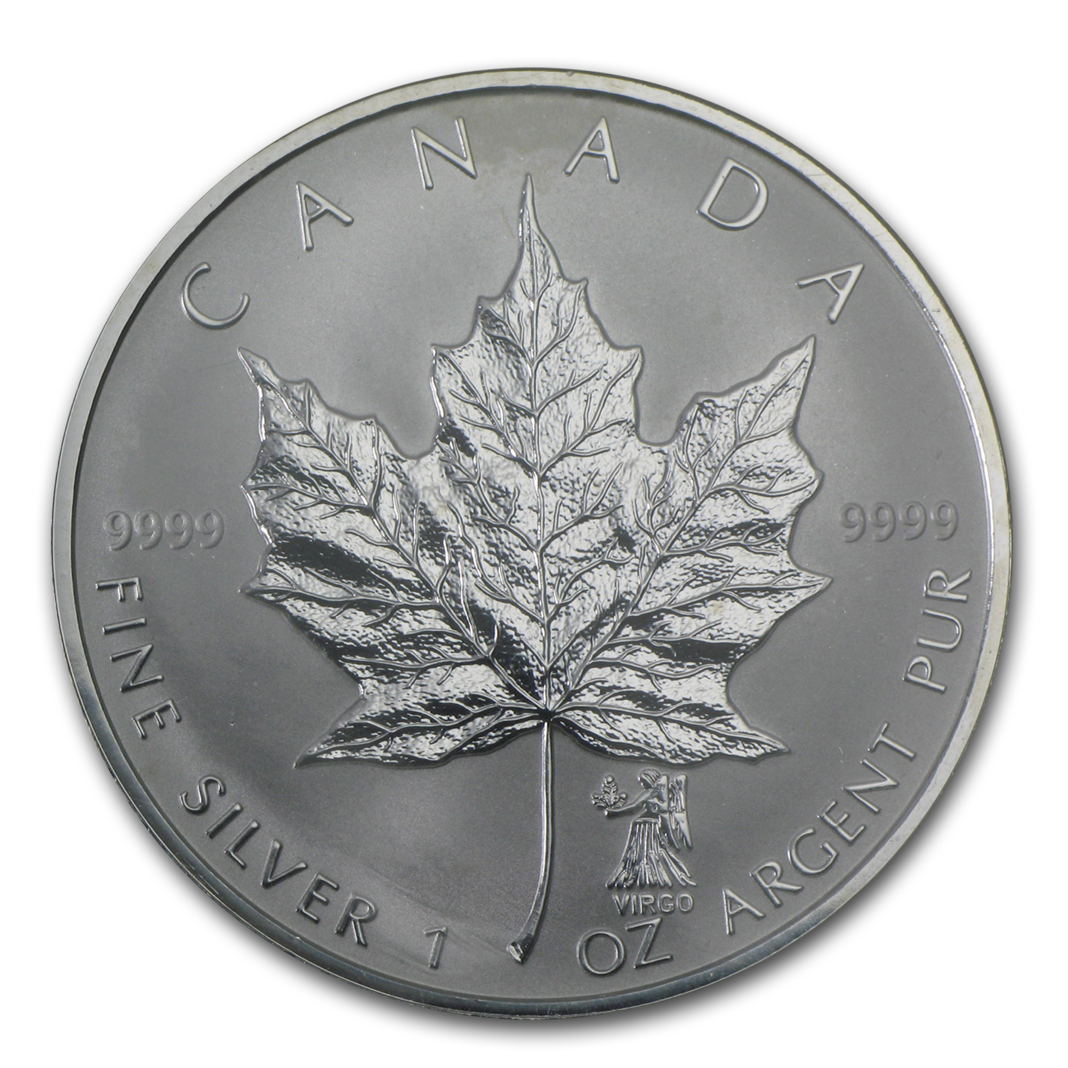 2004 Canada 1 oz Silver Maple Leaf Virgo Zodiac Privy