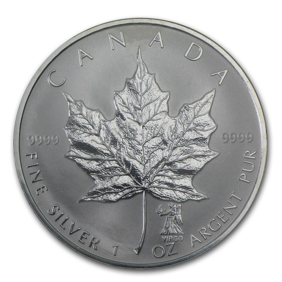 2004 Canada 1 Oz Silver Maple Leaf Virgo Zodiac Privy