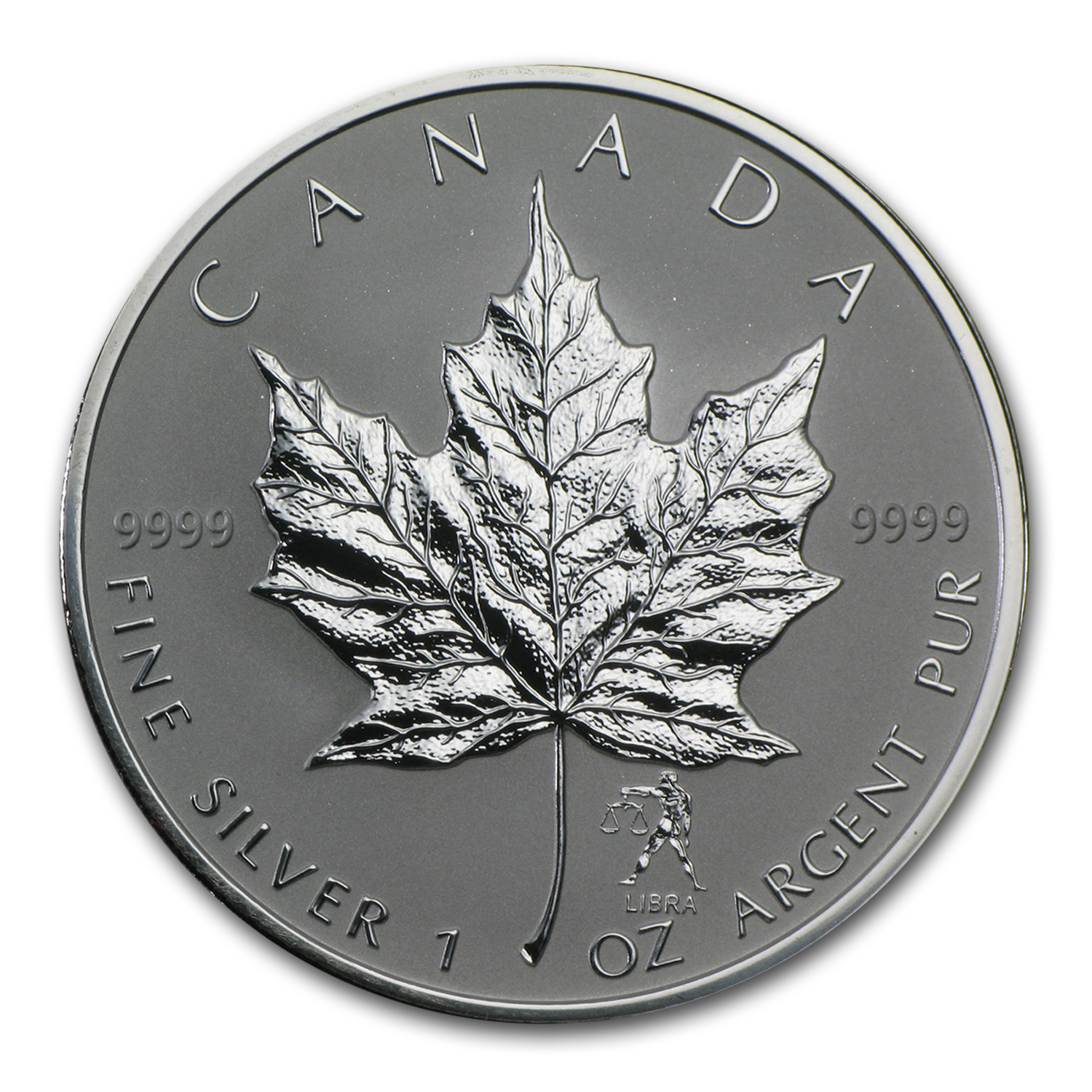 2004 1 oz Silver Canadian Maple Leaf - Libra Zodiac Privy