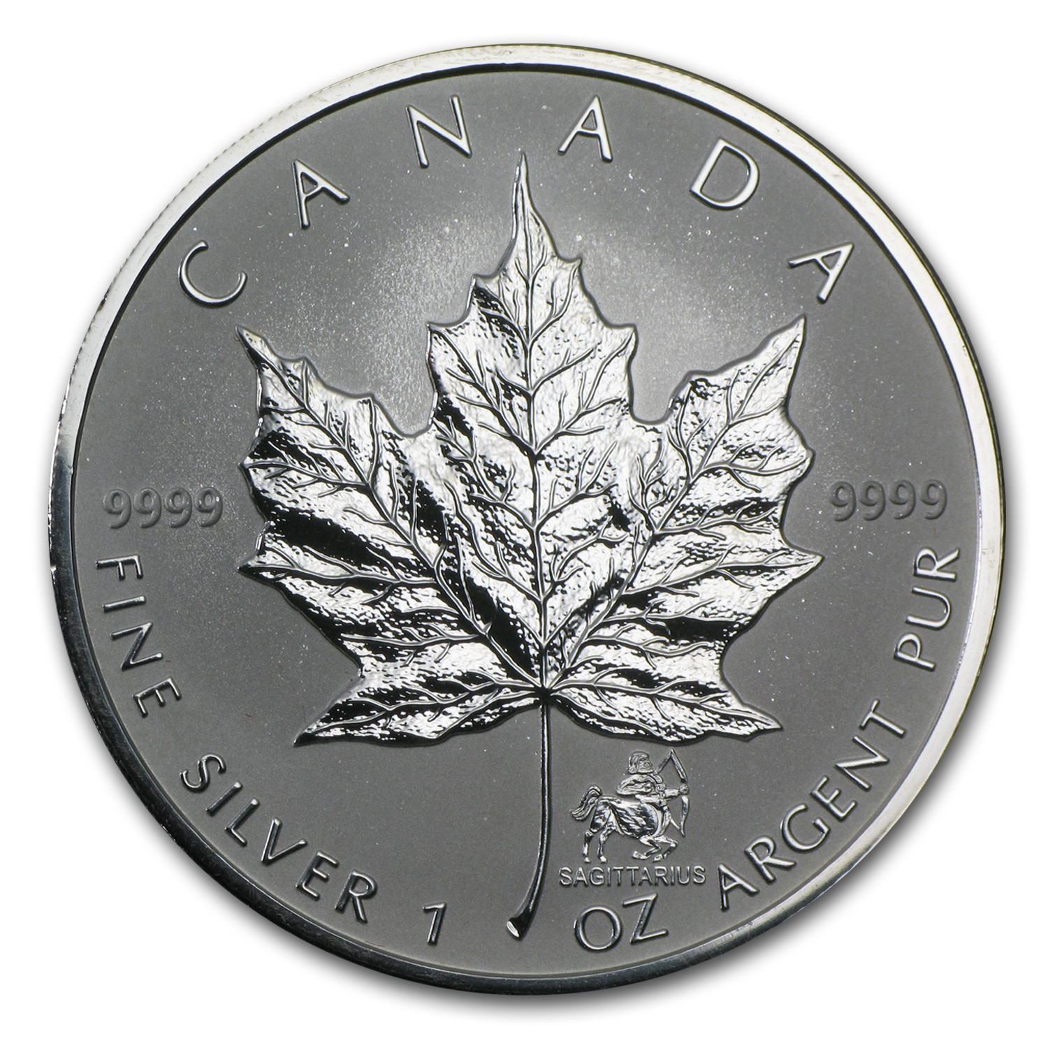 2004 1 oz Silver Canadian Maple Leaf - Sagittarius Zodiac Privy