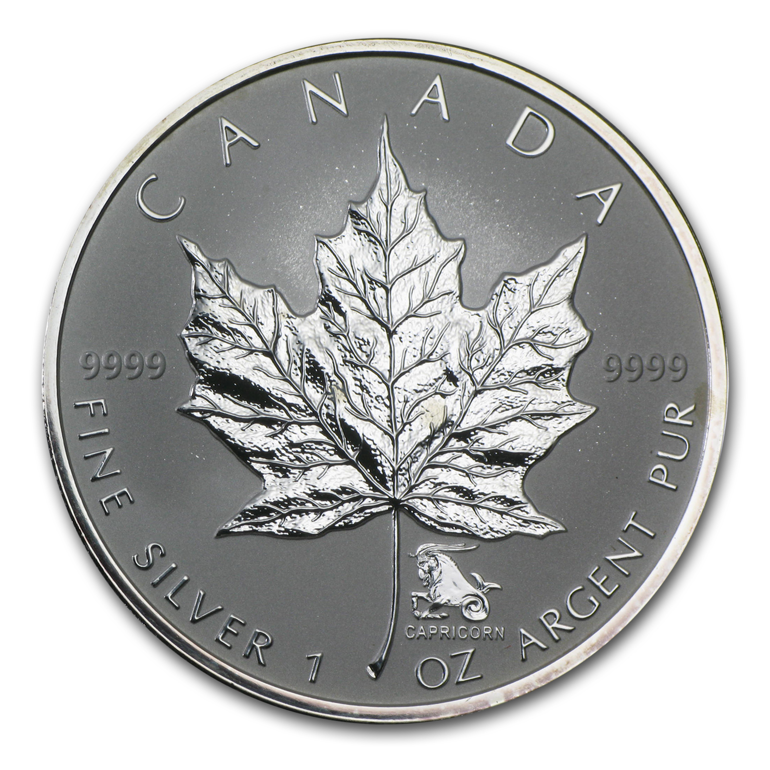 2004 Canada 1 oz Silver Maple Leaf Capricorn Zodiac Privy
