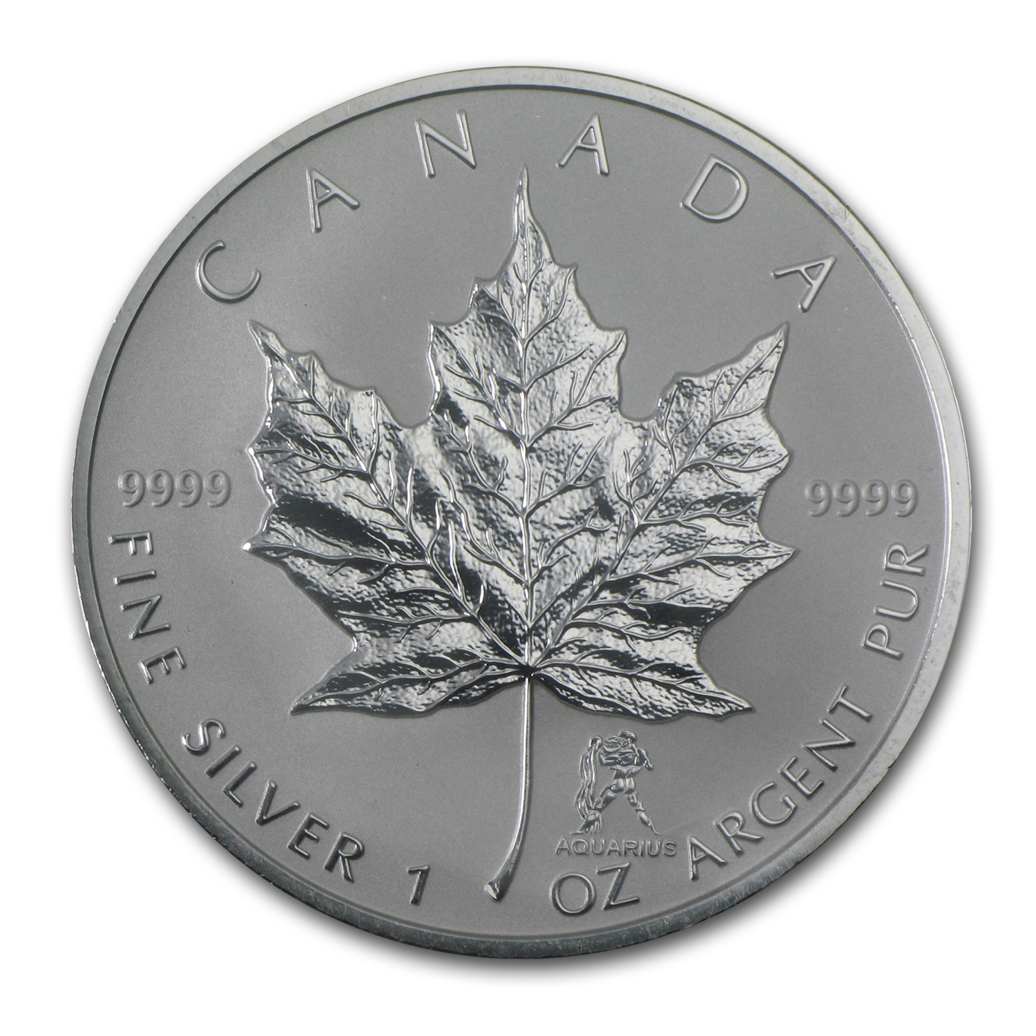 2004 Canada 1 oz Silver Maple Leaf Aquarius Zodiac Privy