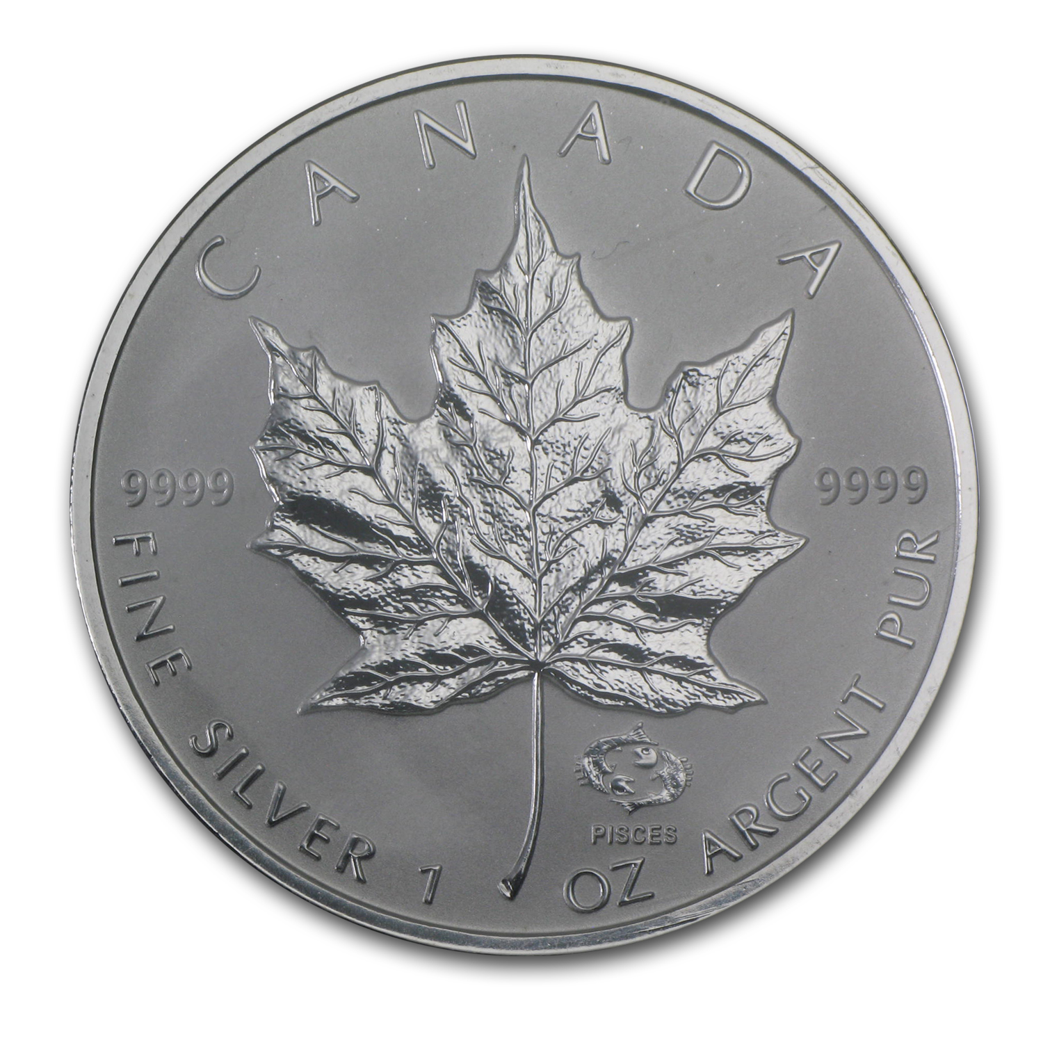 2004 1 oz Silver Canadian Maple Leaf - Pisces Zodiac Privy