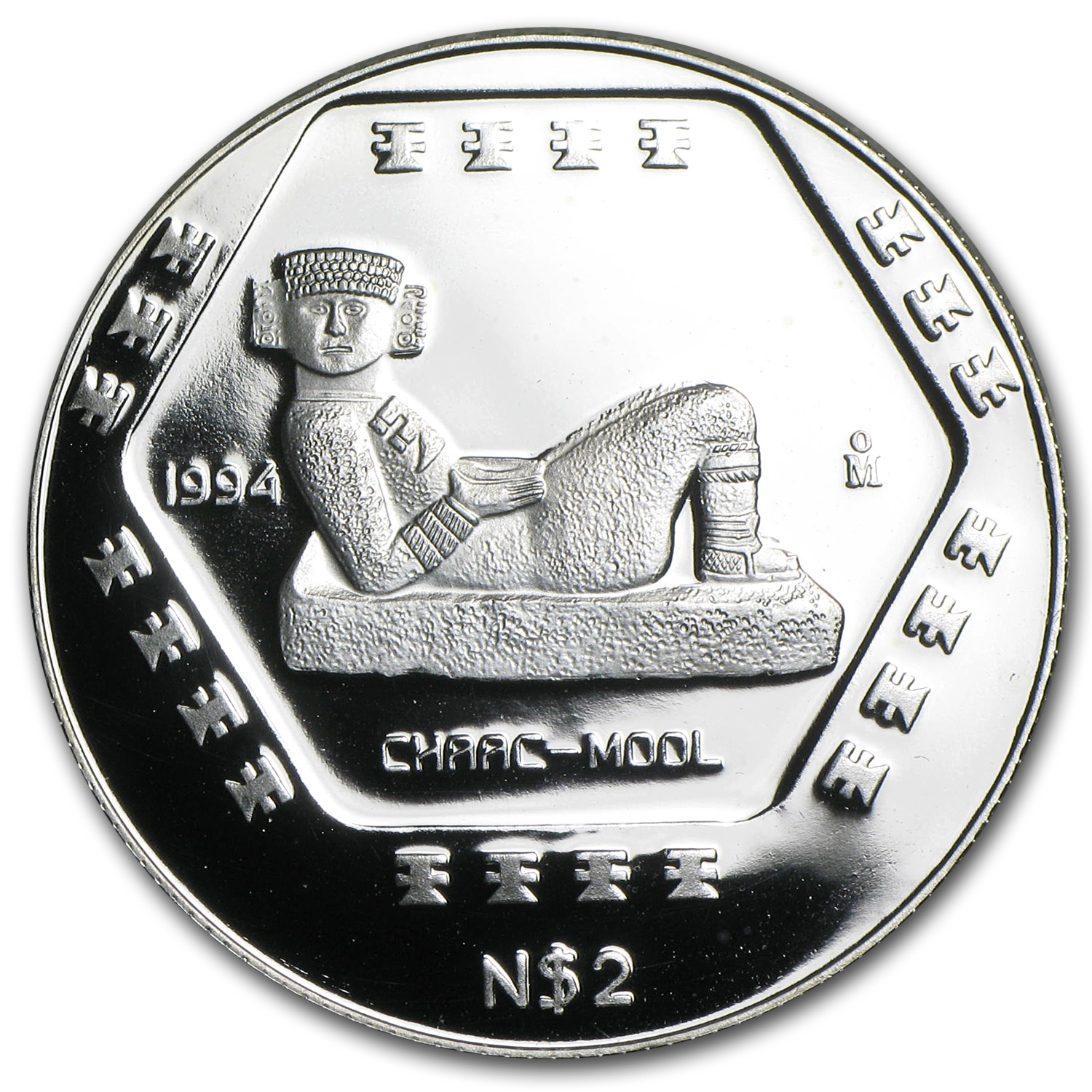 1994 Mexico 1/2 oz Silver 2 Pesos Chaac-Mool Proof
