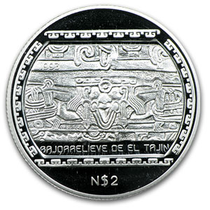 1993 Mexico 1/2 oz Silver 2 Pesos BasRelief El Tajin Proof