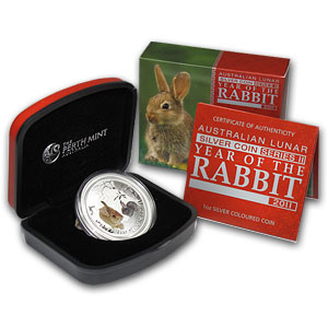 2011 1 oz Silver Year of the Rabbit (SII) (Colorized) w/Box & CoA