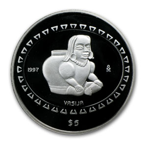 1997 1 oz Silver Mexican 5 Pesos Vasija Proof