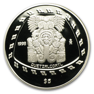 1998 1 oz Silver Mexican 5 Pesos Quetzalcoatl Proof