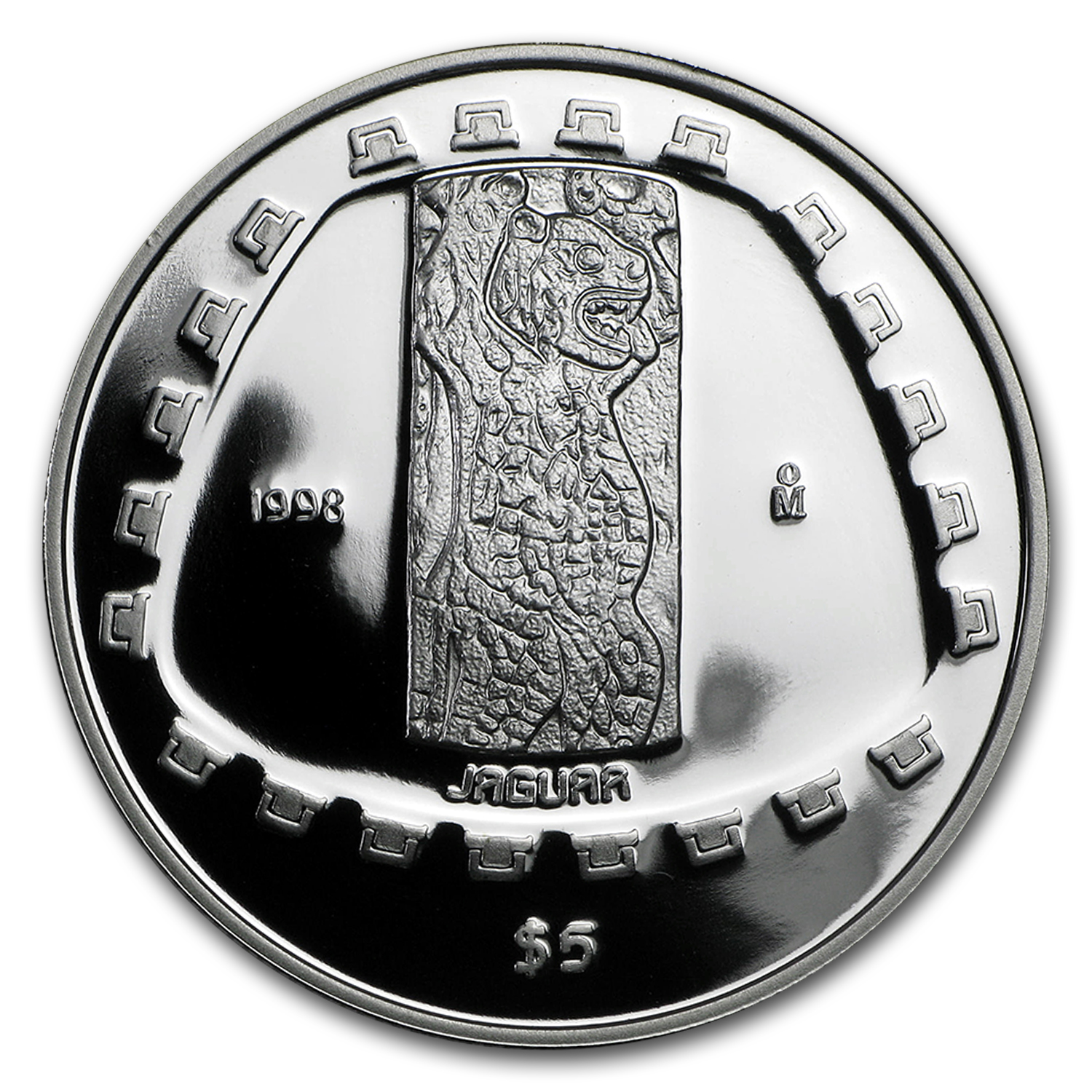 1998 1 oz Silver Mexican 5 Pesos Jaguar Proof