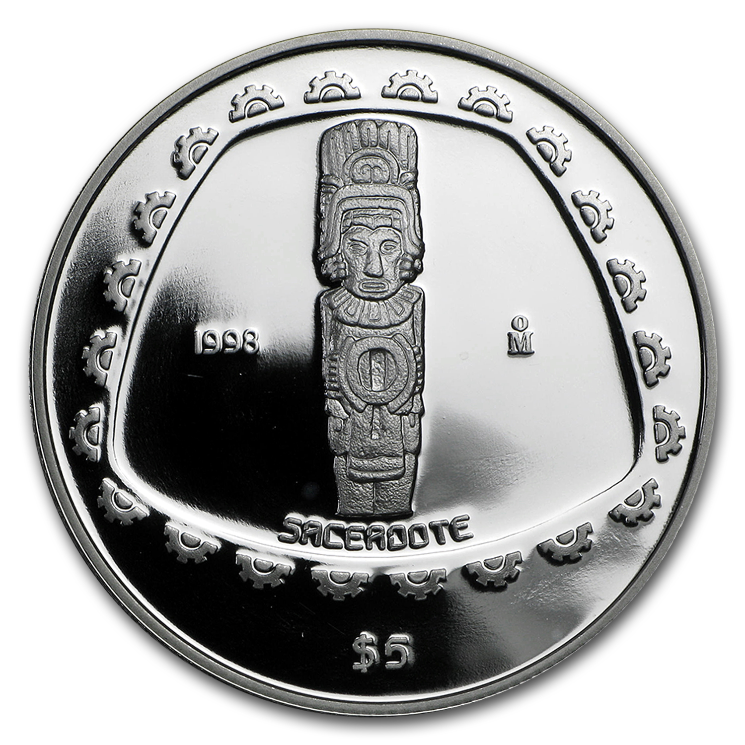 1998 1 oz Silver Mexican 5 Pesos Sacerdote Proof