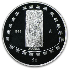 1998 1/2 oz Silver Mexican 2 Pesos Jaguar Proof